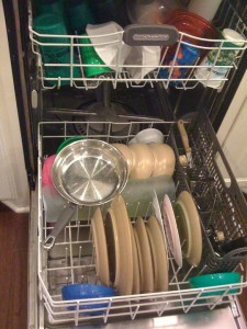 The odd, funny way he loaded the dishwasher, pan side up.